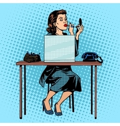 Businesswoman putting on lipstick in the office vector image