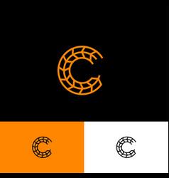 C monogram letter spikelet bakery cereal vector