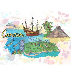 Cancun doodles vector