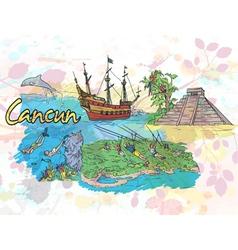 Cancun doodles vector