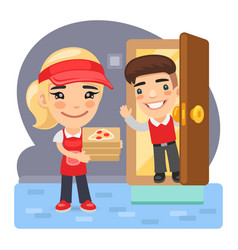 cartoon pizza delivery girl and customer vector image