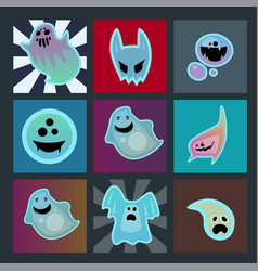 cartoon spooky ghost character scary cards monster vector image