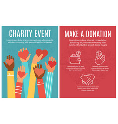 Charity event flyer donation and volunteering vector