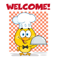 chef yellow chick holding a cloche platter vector image
