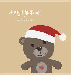 Christmas card with teddy bear on colored vector