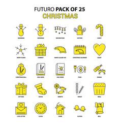 Christmas icon set yellow futuro latest design vector