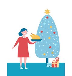christmas tree with presents and woman with dish vector image