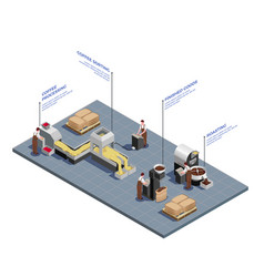 coffee production isometric concept vector image