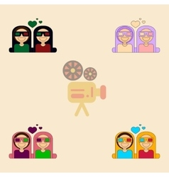 Collection in flat style girls vector