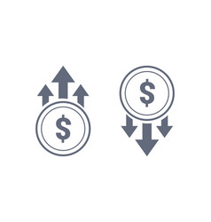 colorful dollar up and down sign icon vector image