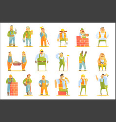 Construction workers at work set of graphic design vector