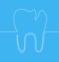 continuous one line tooth dentist symbol vector image