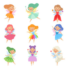 cute beautiful little winged fairies lovely girls vector image