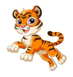 Cute jumping tiger cartoon character vector