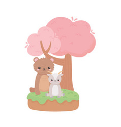 Cute little bear and goat sitting tree cartoon vector