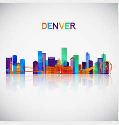 Denver skyline silhouette in colorful geometric vector