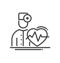 doctor cardiologist - modern line design vector image