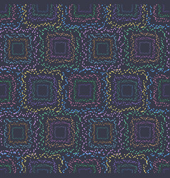 Dotted square seamless pattern on dark background vector