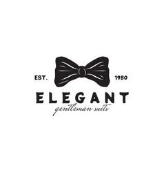 elegant bowtie logo for gentlemen suit design vector image