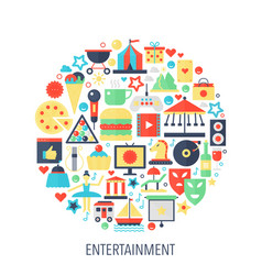 entertainment flat infographics icons in circle - vector image