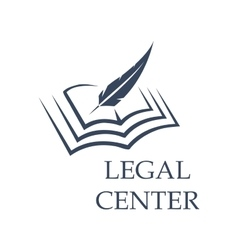 Feather writing on book as legal center sign vector