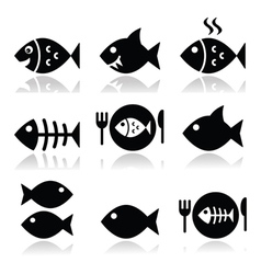 Fish fish on plate skeleton vecotor icons vector