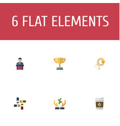 flat icons support championship coin and other vector image