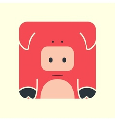 Flat square icon of a cute pig vector image