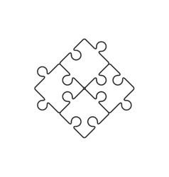 Four piece puzzle line icon vector image