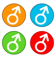 Gender male symbol buttons set vector image