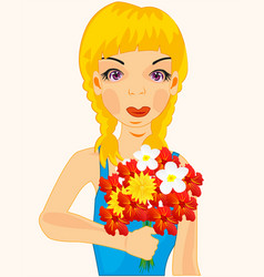 Girl with flower vector