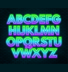green purple gradient neon alphabet on a dark vector image