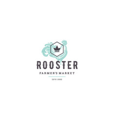 hand drawn logo poultry rooster silhouette and vector image