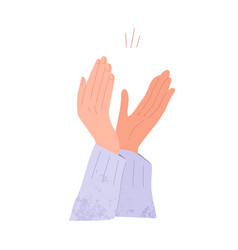 Hands applauding open palms clapping greeting vector
