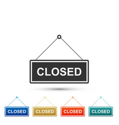 hanging sign with text closed door icon isolated vector image