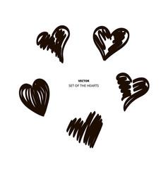 Hearts temp black brush vector