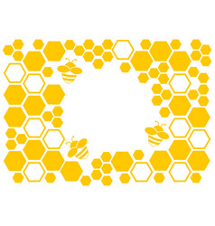 Honey background yellow frame with honeycomb and vector
