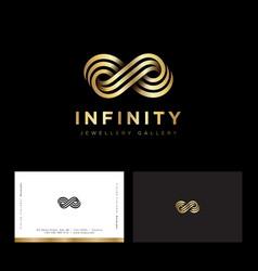 infinity logo consist golden strip jewelry luxury vector image