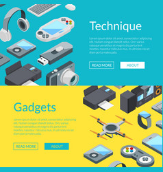 isometric gadgets icons web banner vector image