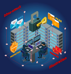 Isometric server ddos attack template vector