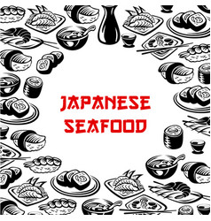 Japanese seafood sushi restaurant poster vector