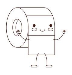 kawaii cartoon toilet paper roll in brown vector image