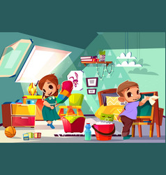 Kids cleaning in their room cartoon vector