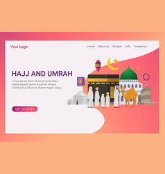 Landing page hajj and umrah design concept vector