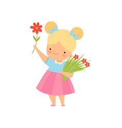 Lovely little blonde girl with bouquet red vector