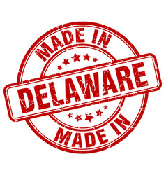 Made in delaware red grunge round stamp vector