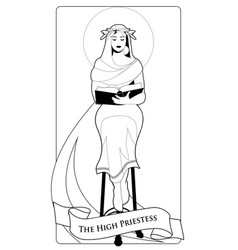 major arcana tarot cards the high priestess with vector image