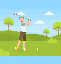 Male golfer training with golf club on course vector