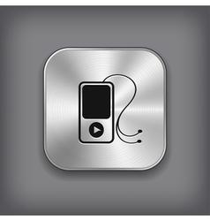 MP3 player icon - metal app button vector