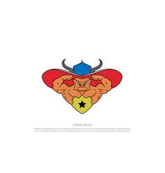 muscular angus cow bull longhorn mascot character vector image